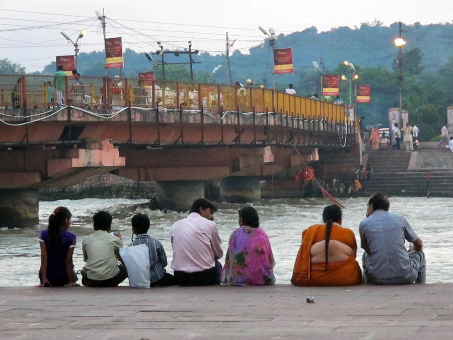 Watching the Ganga on the Har Ki Pairi ghat at Hardwar