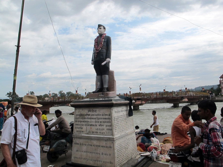 Life on the Har Ki Pairi ghat - Dr Ambedkar (champion of the untouchables), and Michael doing business